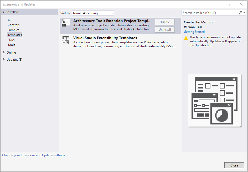 if you have previously installed the extension you will want to confirm that the previous templates have been removed from the visual studio project
